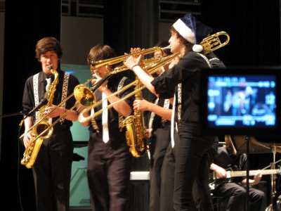 Jazz Quintet being filmed at the Winter Concert
